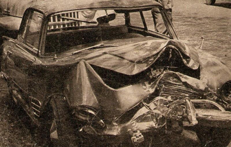 Auto accidentado de Julio Sosa